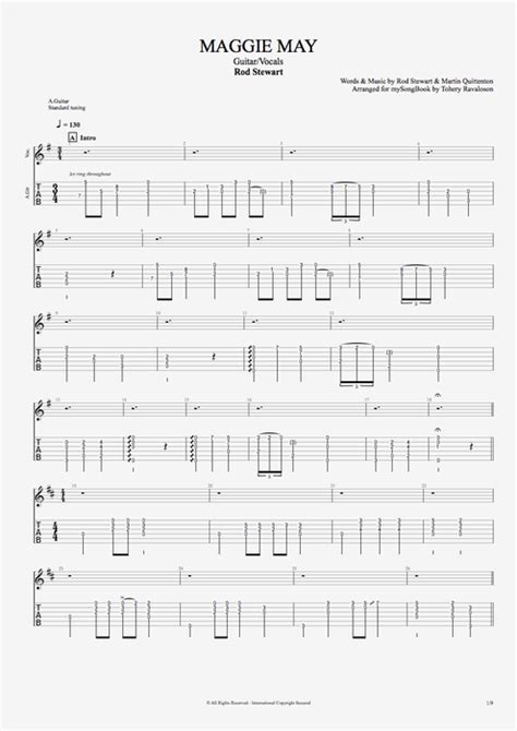Maggie May by Rod Stewart - Guitar/Vocals Guitar Pro Tab