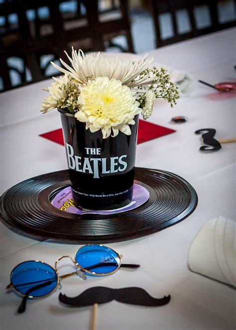 Centerpiece idea I created for my dad's party | Beatles