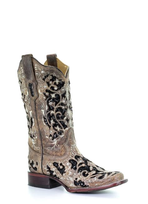 Ladies Western Boots: Corral Women's Black Sequin Cowboy Boots