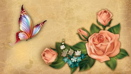 Peach Roses and Butterfly - Flowers & Nature Background