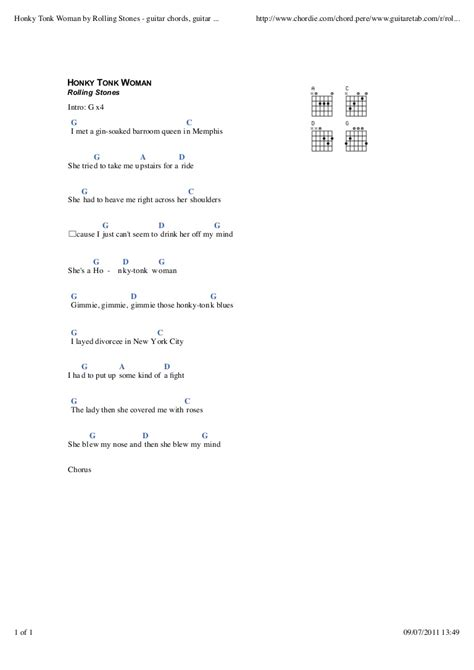 Honky tonk woman by rolling stones guitar chords, guitar